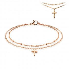 Chaine de cheville double tours croix acier couleur or rose