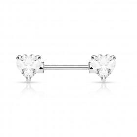 Piercing téton cristal coeur cristal blanc