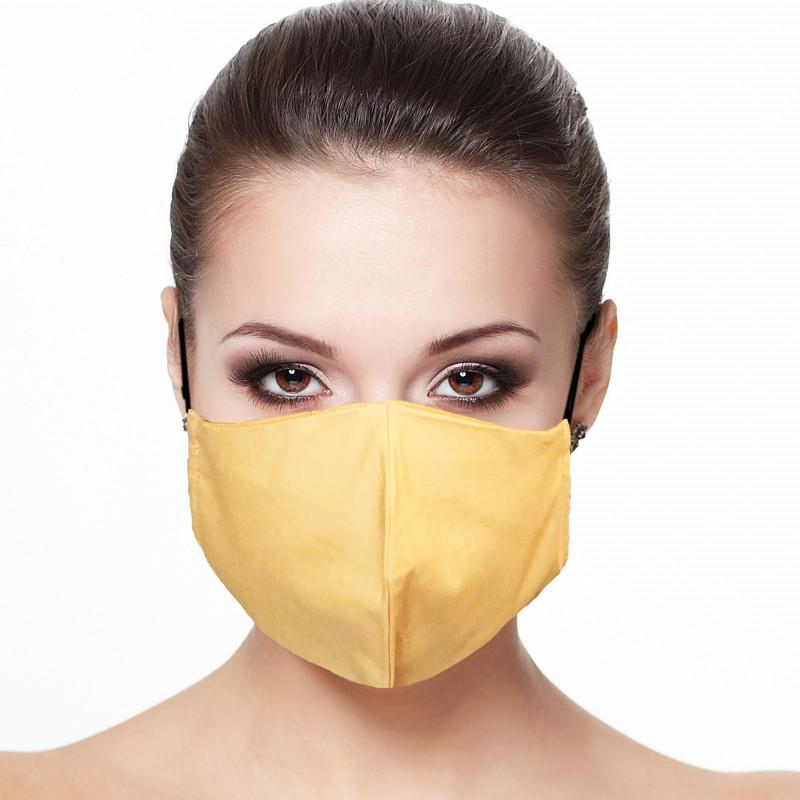 Masque Facial grand publique doublé réutilisable en tissu couleur safran