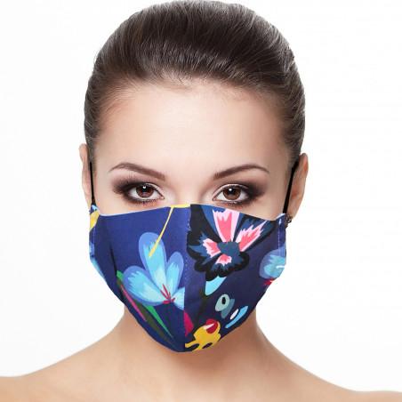 Masque Facial doublé réutilisable en tissu imprimé fleur