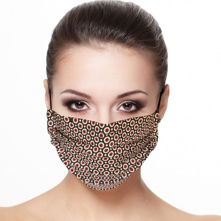 Masque plissé protection visage imprimé mini fleur fond marron