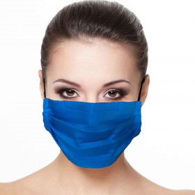 Masque plissé protection visage unis Bleu roi