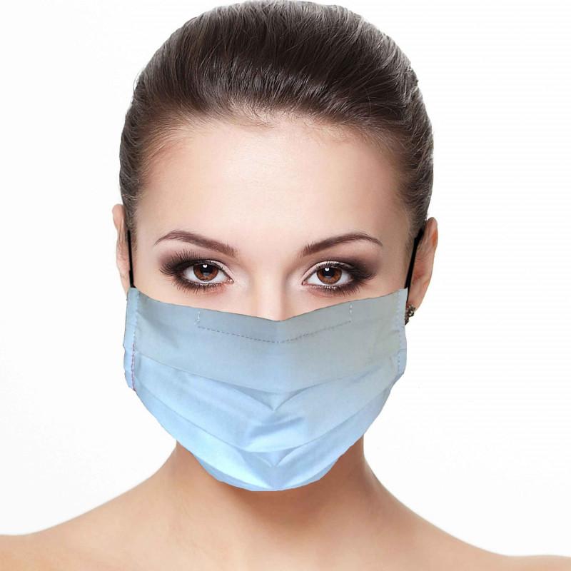 Masque plissé protection visage uni Bleu ciel