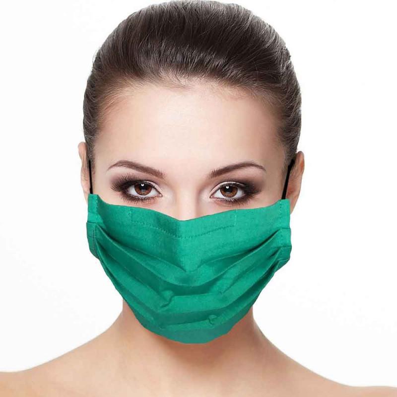 Masque plissé protection visage uni émeraude