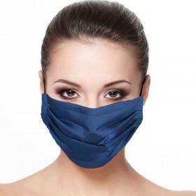 Masque plissé protection visage uni bleu marine