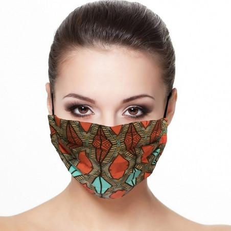 Masque tissu plissé protection visage imprimé losange