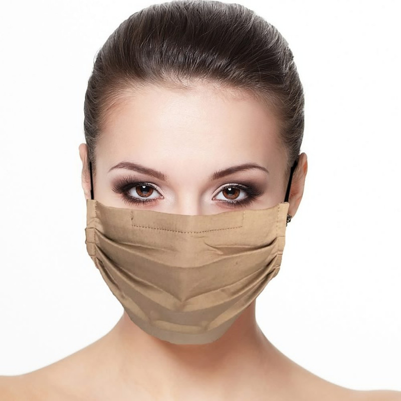 Masque plissé protection visage uni couleur terre