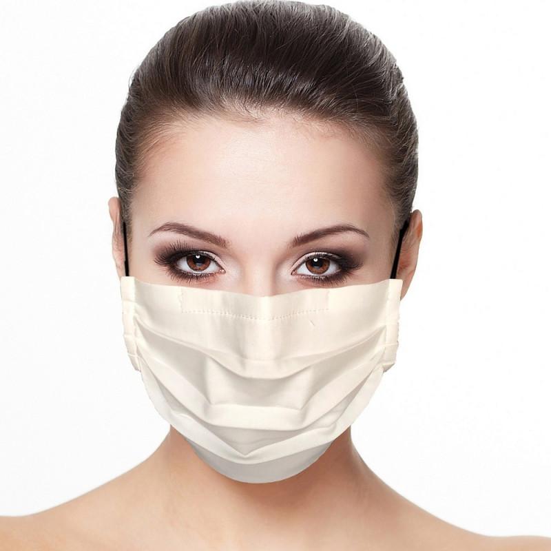 Masque tissu plissé protection visage uni couleur blanc
