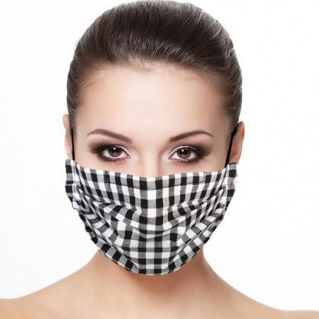 Masque tissu plissé protection visage imprimé carreaux