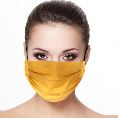 Masque tissu plissé protection visage uni couleur safran