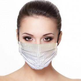 Masque tissu plissé protection visage réutilisable imprimé rayé