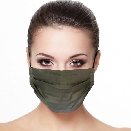 Masque tissu plissé protection visage couleur kaki