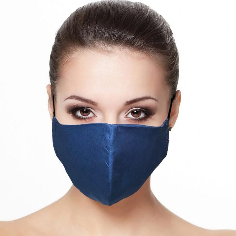 Masque visage doublé réutilisable en tissu Bleu marine