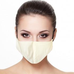 Masque visage doublé réutilisable en tissu Blanc