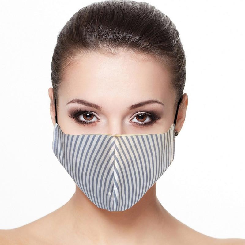 Masque visage doublé réutilisable en tissu rayé bleu ciel et blanc
