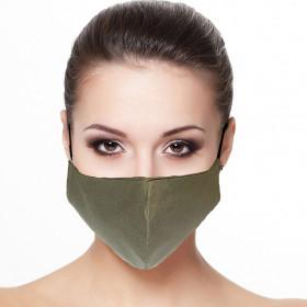 Masque visage doublé réutilisable en tissu unis Kaki