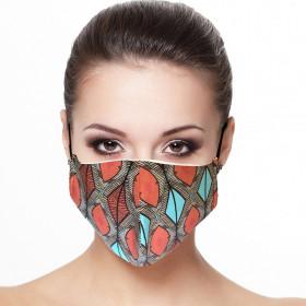 Masque visage doublé réutilisable en tissu imprimé losange