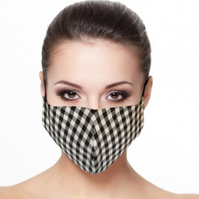 Masque visage doublé réutilisable en tissu imprimé carreaux