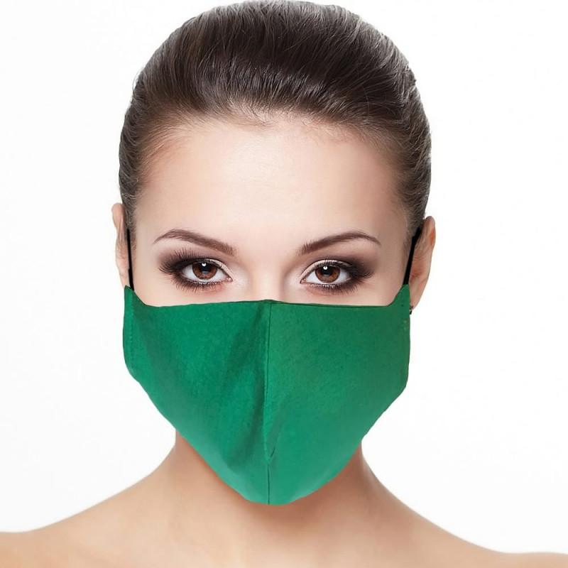 Masque facial doublé réutilisable en tissu couleur émeraude
