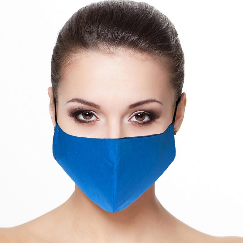 Masque visage doublé réutilisable en tissu couleur Bleu roi