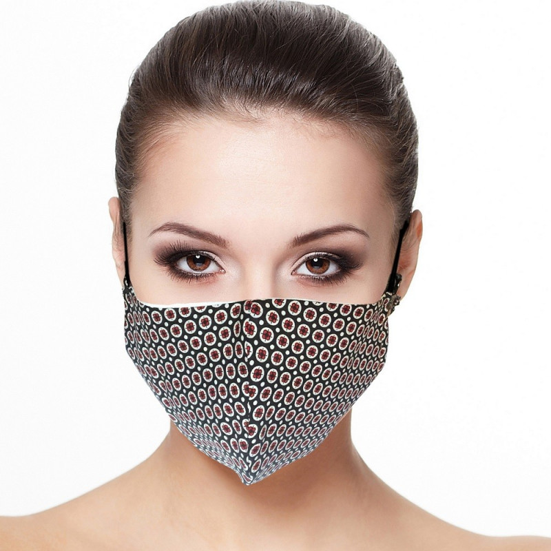 Masque visage doublé réutilisable en tissu imprimé mini fleur