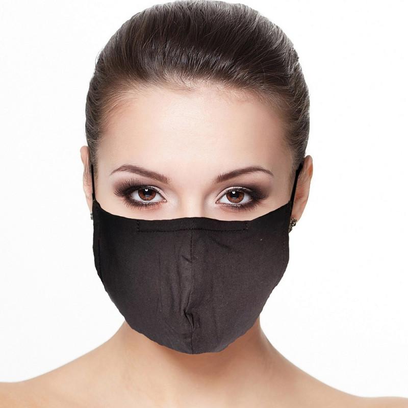 Masque visage doublé réutilisable en tissu couleur Noir
