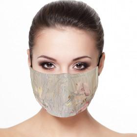 Masque visage doublé réutilisable en tissu imprimé Salon