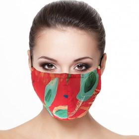 Masque visage doublé réutilisable en tissu imprimé grande feuille
