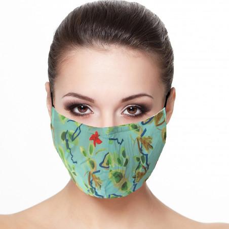 Masque barrière visage doublé réutilisable en tissu imprimé printemps