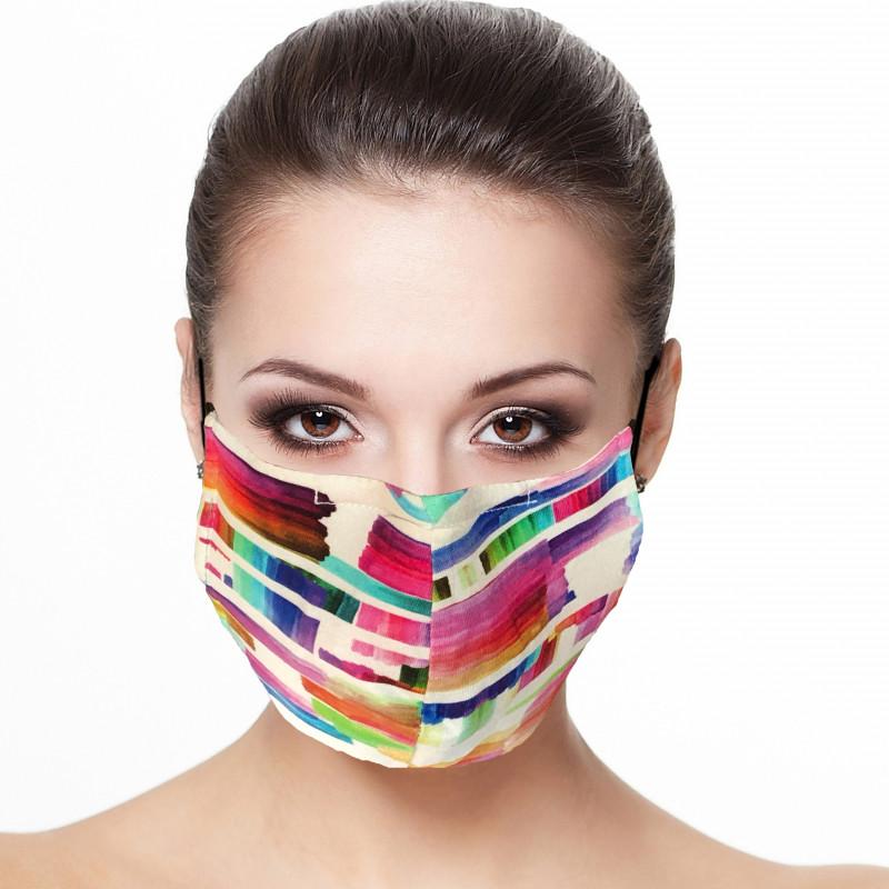 Masque barrière visage doublé réutilisable en tissu imprimé multicolore