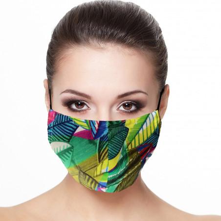 Masque de protection visage doublé réutilisable en tissu imprimé jungle