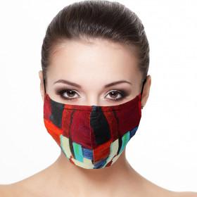 Masque de protection visage doublé réutilisable en tissu imprimé toile