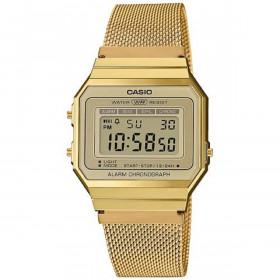 Montre Casio Homme Femme Digital avec Bracelet en Acier Inoxydable A700WEMG-9AEF