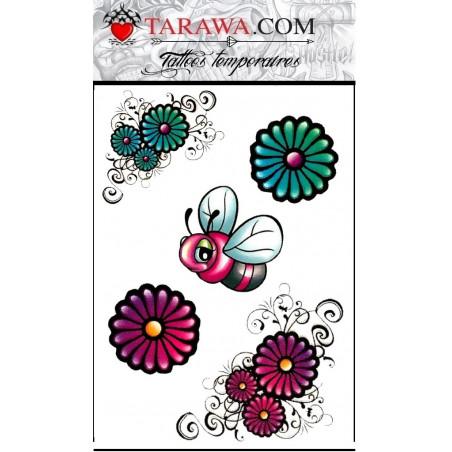 Tatouages autocollants enfant abeille fleur