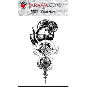 Tatouage éphémère boussole Horloge