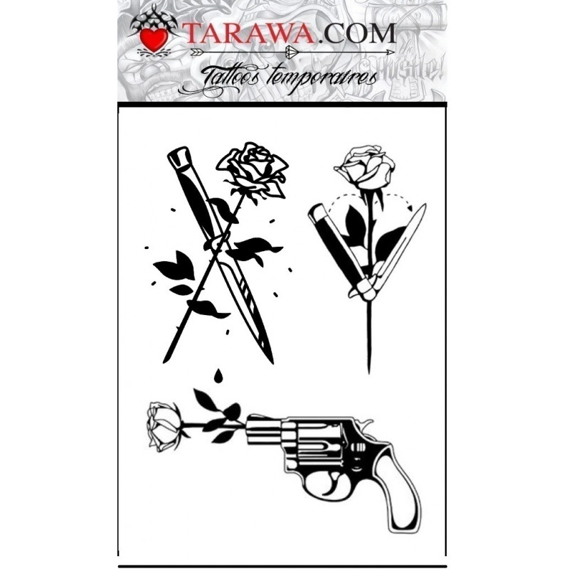 Tatouage rose couteau revolver