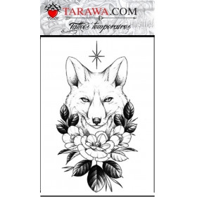 Tattoo renard fleurie