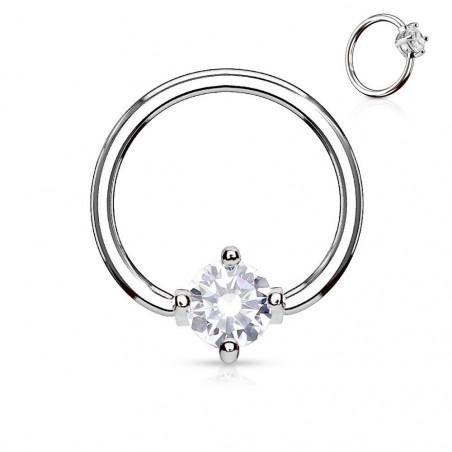 Anneaux piercing 1.6mm solitaire cristal