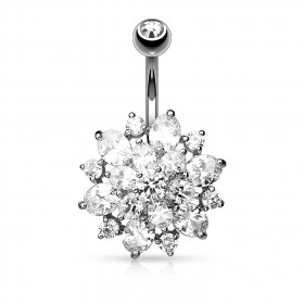 Piercing nombril fleur cristal Dalhia