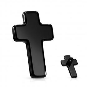 croix noir plate filetage interne pour tige labret