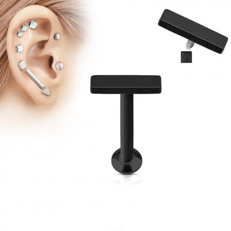 Piercing labret motif barre 2mm par 6mm de long couleur noir