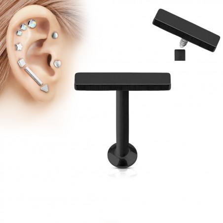 Piercing oreille acier noir motif barre 2mm par 9mm de long