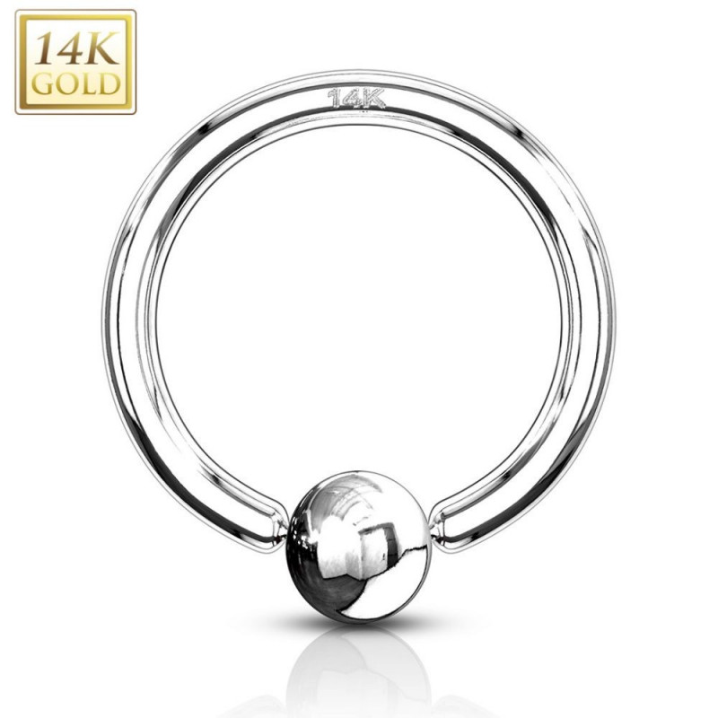 Anneau piercing or blanc 1,6 mm