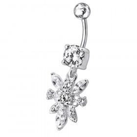 Piercing nombril fleur pendante argent cristal blanc