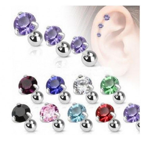 Piercing oreille hélix tragus cristal 3 griffe