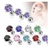 Piercing oreille hélix tragus cristal violet 3 griffe barre acier chirurgical pas cher