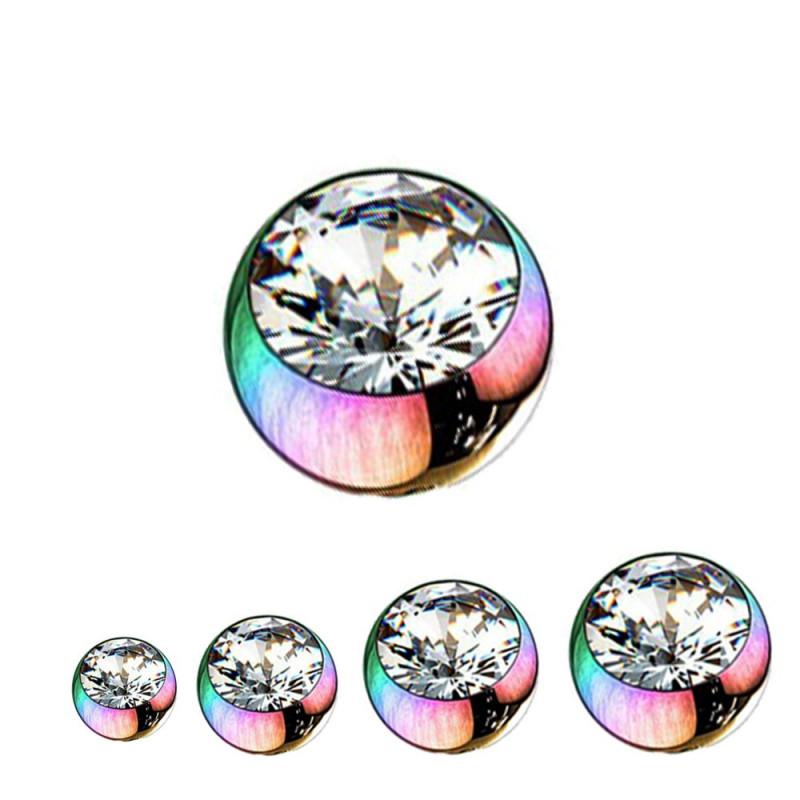 Bille piercing 1,6mm couleur essence avec strass