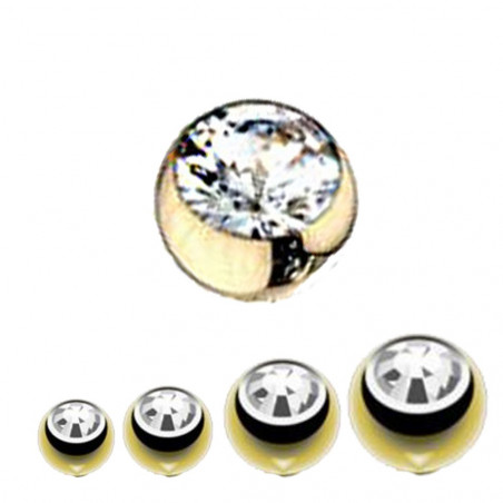 Bille piercing 1,6mm couleur or avec strass