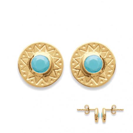 Boucles d'oreilles plaqué or ronde turquoise