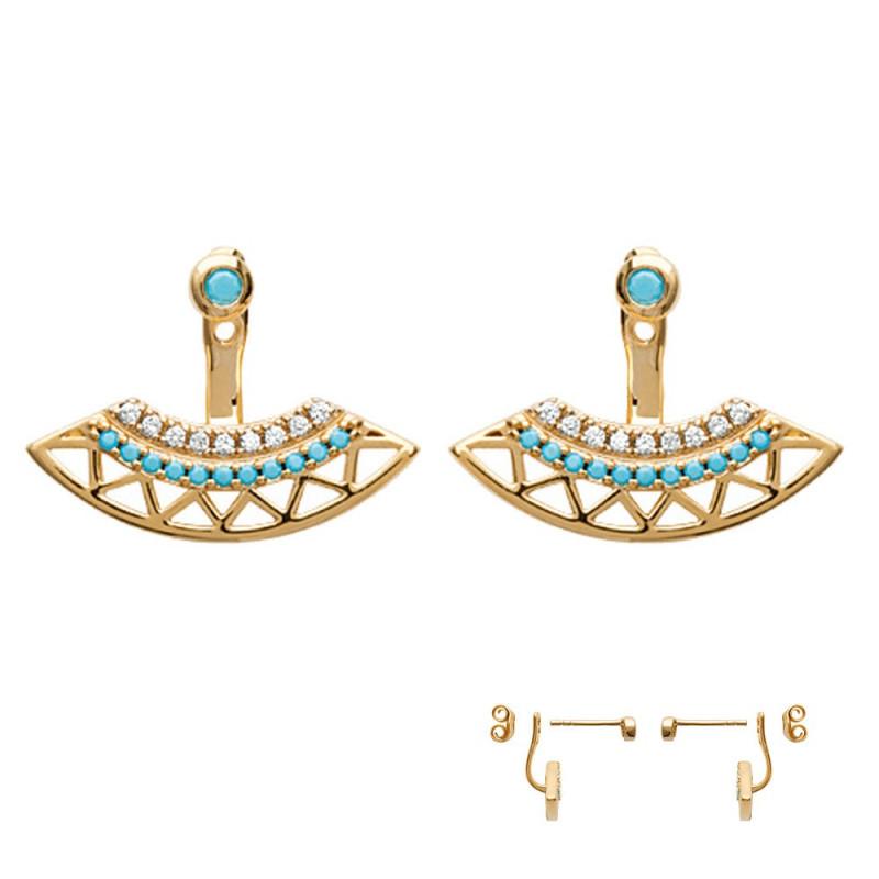 Paires de Boucles d'oreilles original Plaqué Or turquoise